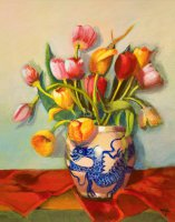 Tulips in Dragon Vase