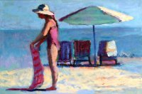 Woman with Striped Towel