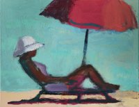 Lounger with Red Umbrella