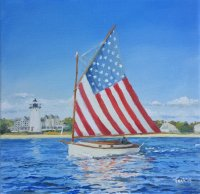 Flag Catboat at Edgartown Lighthouse