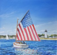 Flag Catboat Entering Edgartown Harbor