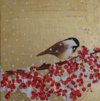 Chickadee with Snow and Berries