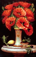 Tuscan Scarlet Red Poppies on Marble Stand