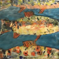 Swimming Trout on Turquoise