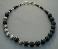 Black Onyx and Sterling Silver Bali Beads