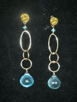 Cabachon Blue Topaz Earrings