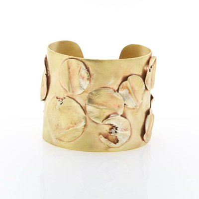 Francesca Lewis Kennedy  - Brass Cuff with Brass Leaves