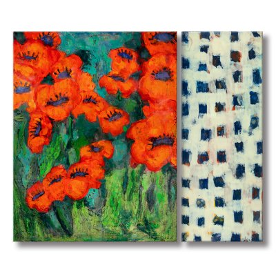 Adair Peck - Poppies with Blue Squares