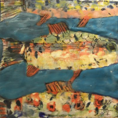 Adair Peck - Swimming Trout on Turquoise