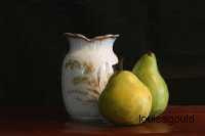 Louisa Gould - White Vase & Two Pears