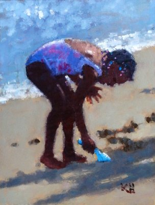 Kate Huntington - Little Girl Digging in the Sand